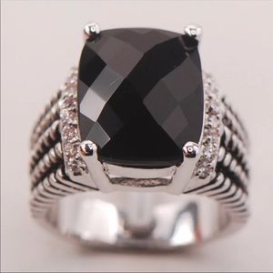 BLACK ONYX STERLING SILVER 925 STATEMENT RING
